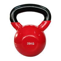 Гиря виниловая 28 кг Rising / гири металлические красного цвета для дома и спортзала
