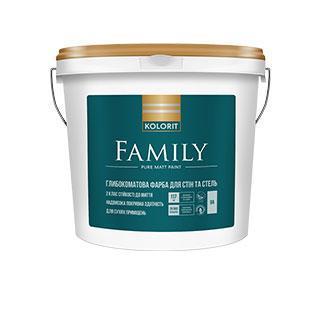 Матовая краска для стен и потолка  Family Kolorit 9л
