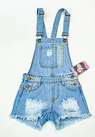 Милый  джинсовый комбинезон с шортами на 8.10.лет