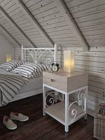 Кованая прикроватная тумбочка в белом цвете с выдвижным ящиком в стиле Прованс Кадис