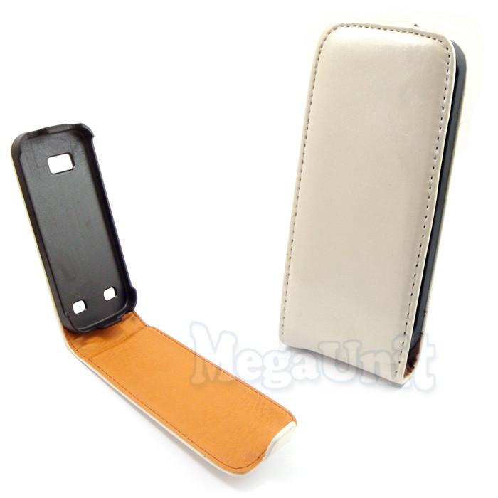 Откидной чехол-флип для Nokia C5-00 Белый