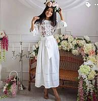 Шикарное вышитое платье Роксолана белый лен, 40- 52  размер