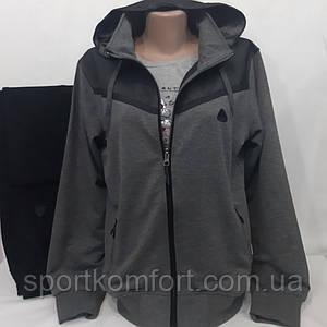 Женский спортивный прогулочный костюм Соккер, Soccer, Турция, серый меланж/чёрный, полубатал.