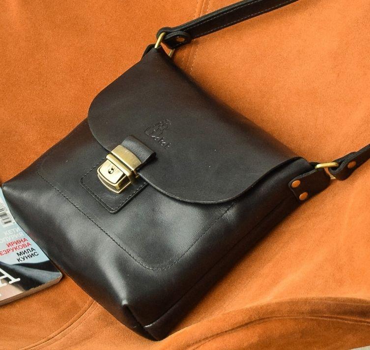 Кожаная женская сумка на плечо Babak 886086, черный оникс