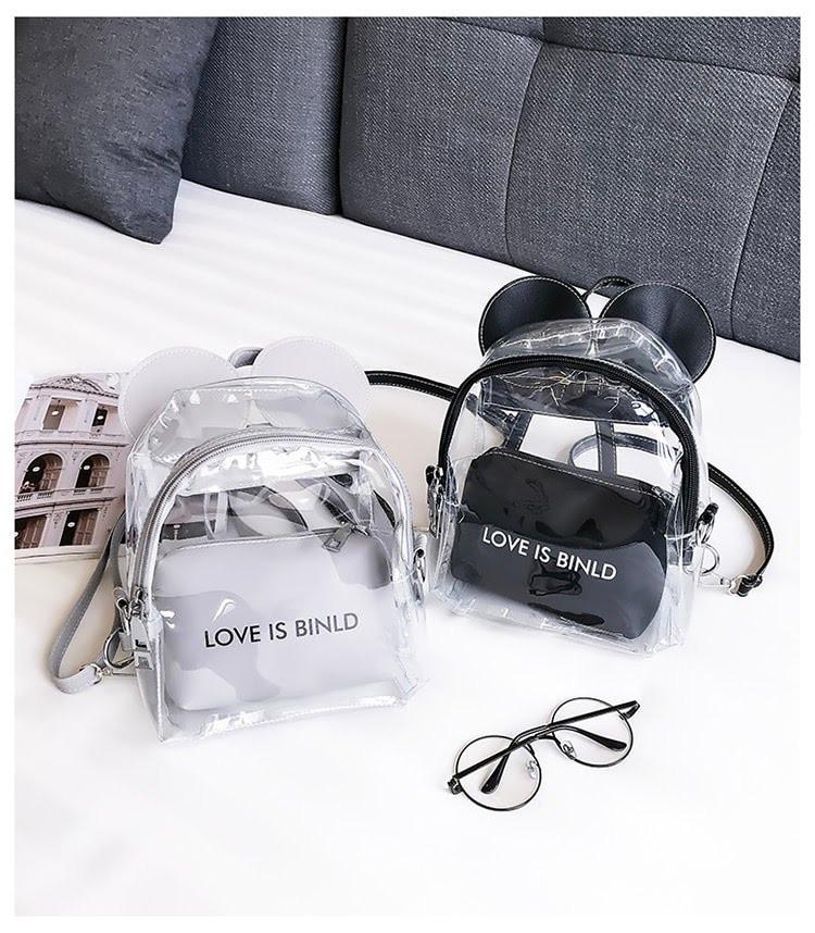 Женский рюкзак Микки с ушками прозрачный