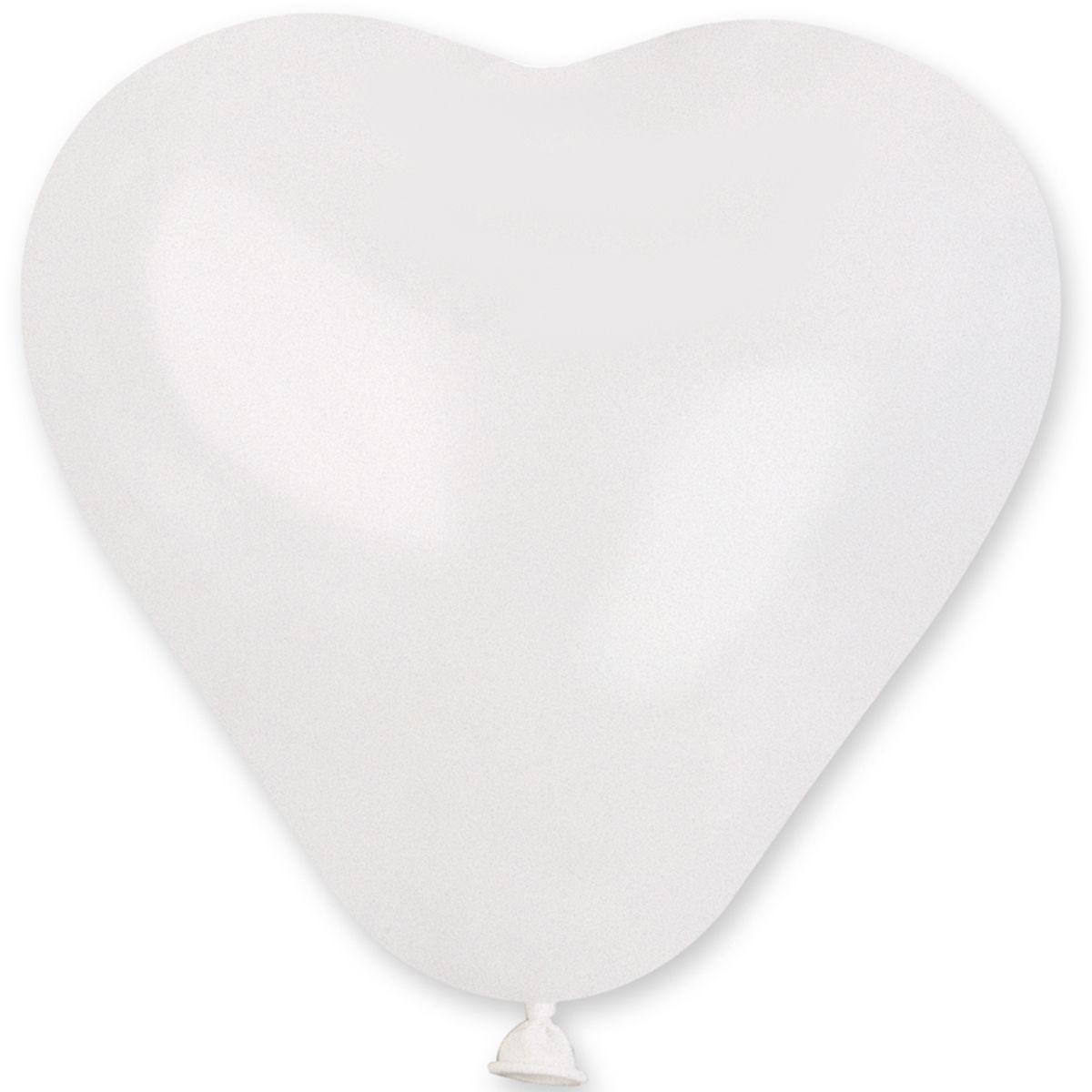 """Латексные шары сердца без рисунка 5"""" 13см пастель белое """"GEMAR"""" Италия"""