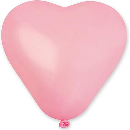 """Латексные шары сердца без рисунка 5"""" 13см пастель розовое """"GEMAR"""" Италия, фото 2"""
