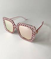 Солнцезащитные очки женские Gucci (Гуччи) с камнями, крупные очки квадратные, зеркальные