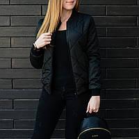 Легкая весенняя женская куртка Стеганка черная, фото 1