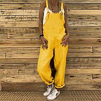 Модный свободный женский комбинезон, ромпер из льна без вышивки. Яркие всевозможные любимые цвета.