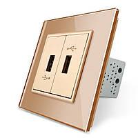 Розетка два USB с блоком питания 2.1А 5V Livolo золото стекло (VL-C792U-13), фото 1