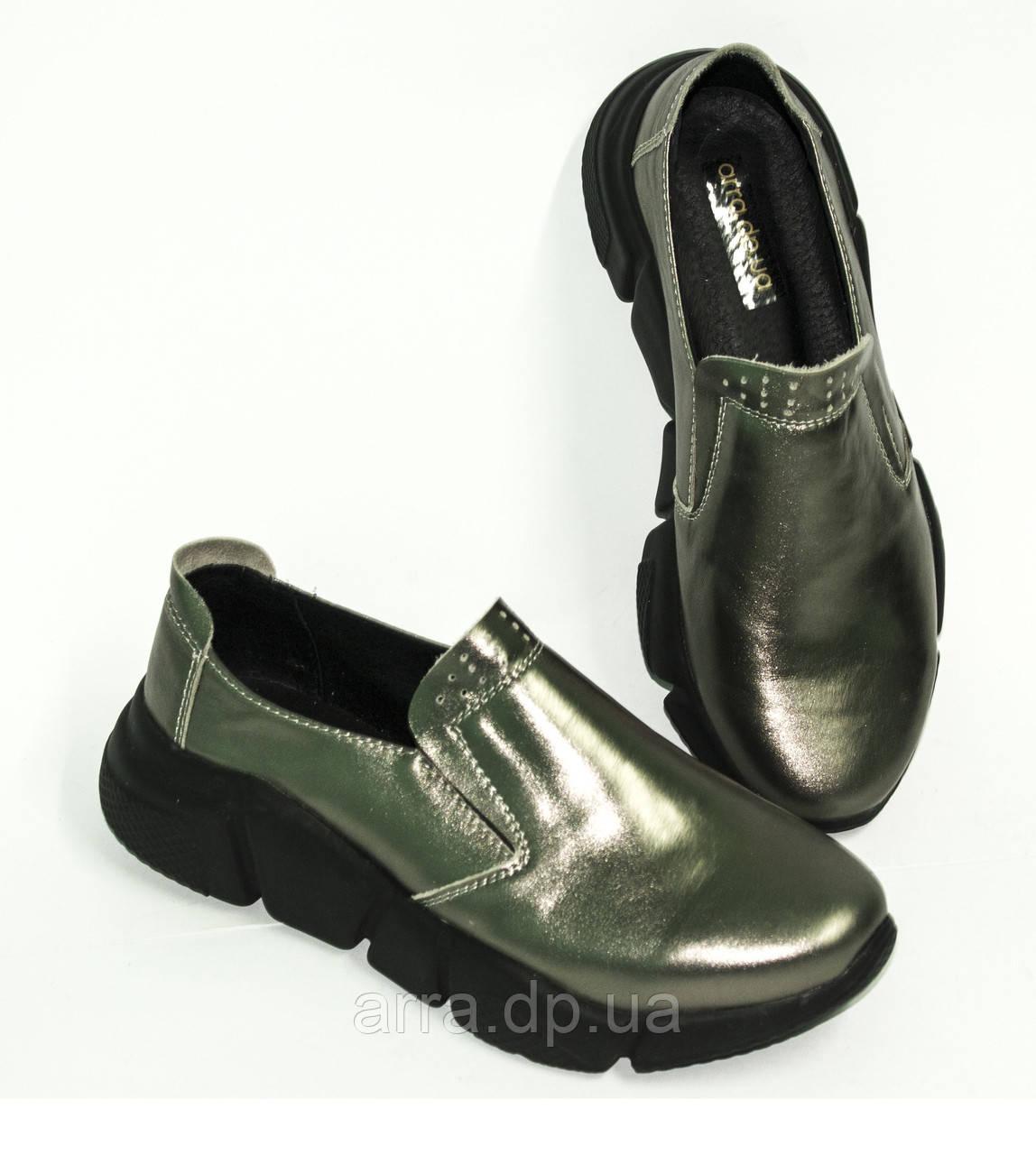 Туфли женские кожаные на утолщенной подошве, цвет никель