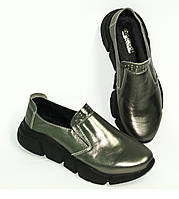 Туфли женские кожаные на утолщенной подошве, цвет никель, фото 1