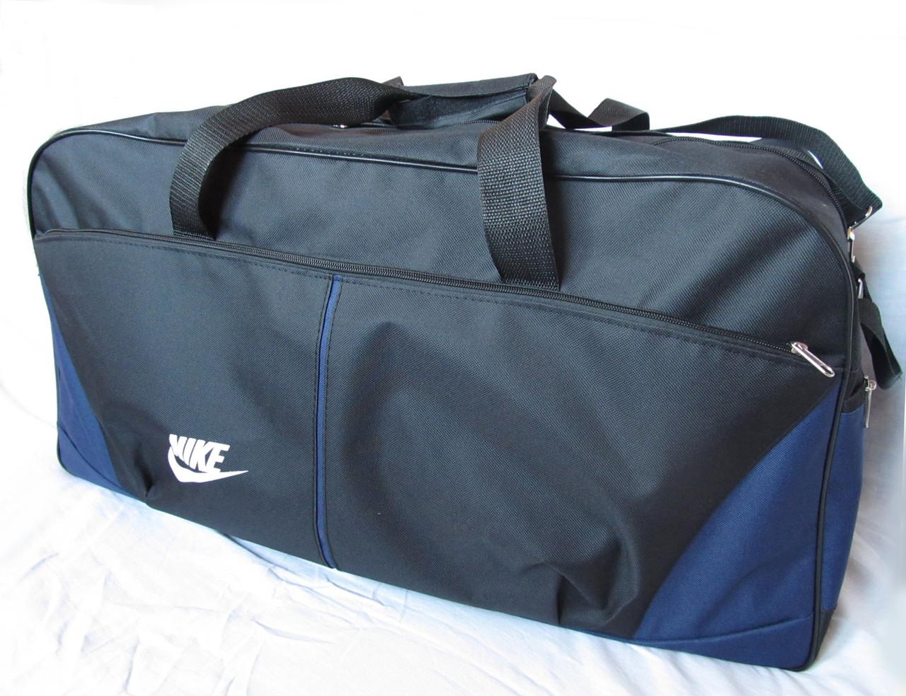75d786c7489f Дорожная сумка через плечо спортивная Найк 120-2 черная с синим 69см 72л