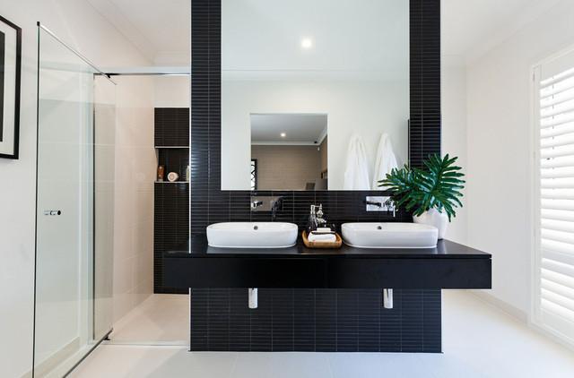 Столешница в ванную, кварц Caesarstone 3100 Jet Black  - Photo