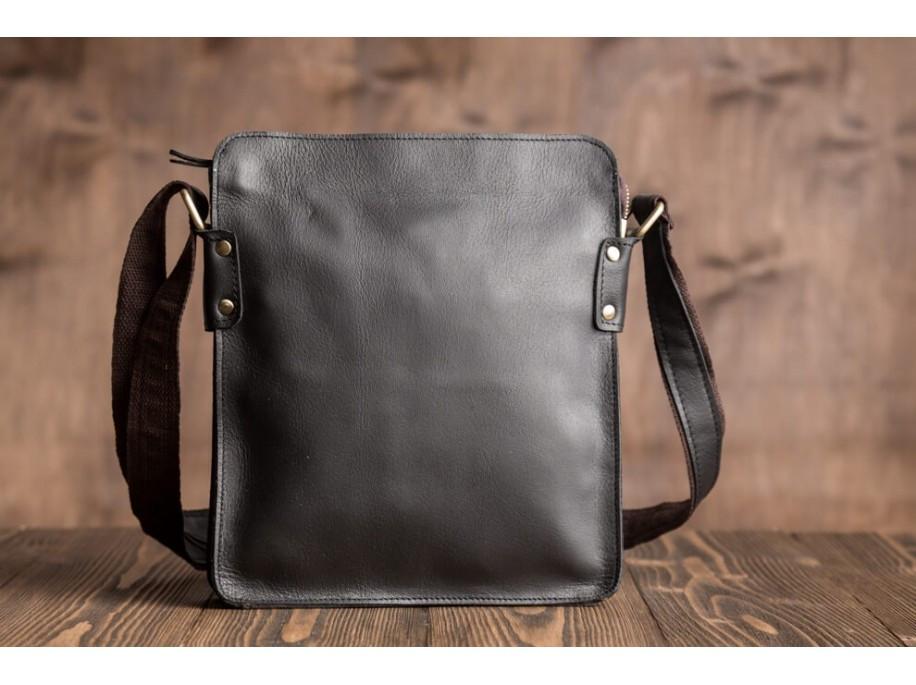040901a3 Мужская сумка (мессенджер) из натуральной кожи, черного цвета. ТОП КАЧЕСТВО!