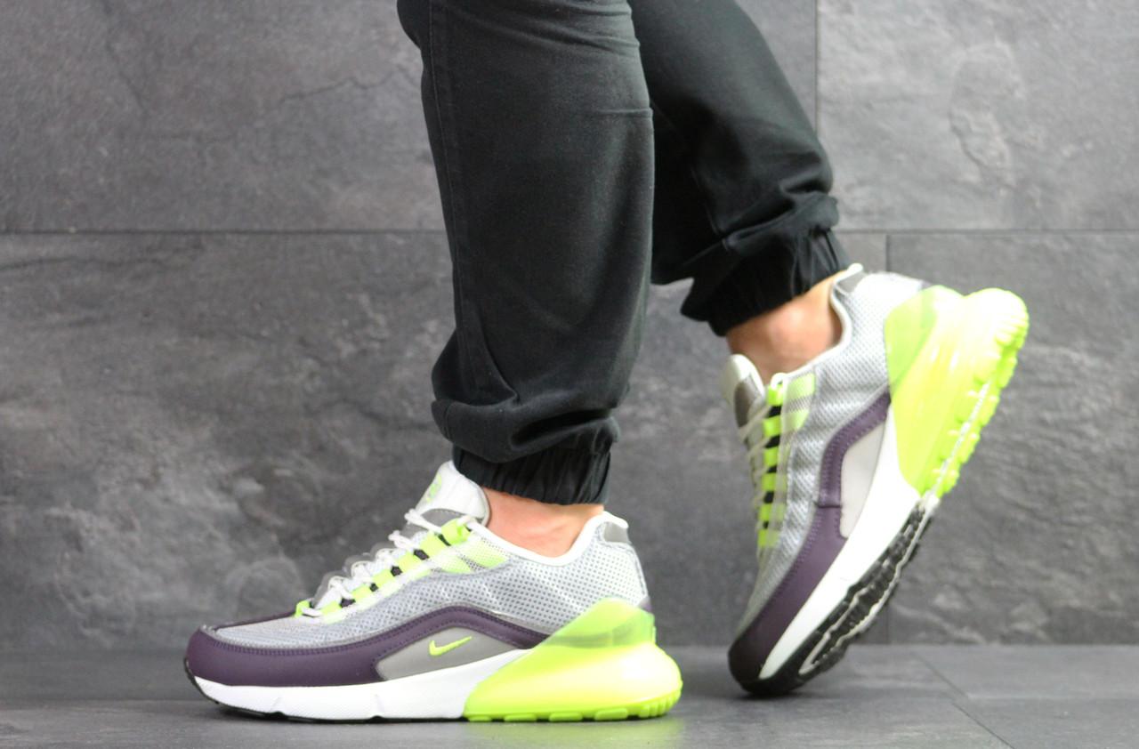 Кроссовки Nike Air Max 95 + Max 270, серые с салатовым