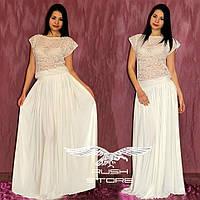Платье в пол с гипюровым верхом