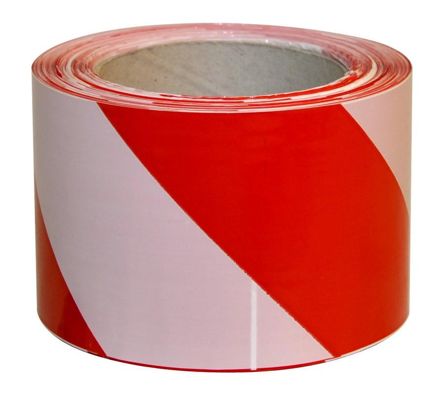 Лента оградительная (сигнальная) 200 м красно-белая (ширина 70 мм)