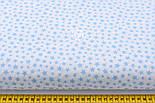 """Тканина бязь """"Густа насип із зірок різних розмірів"""" блакитні на білому, колекція Mini-mikro, №2120а, фото 2"""