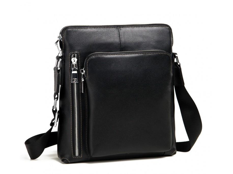 Мужская сумка (мессенджер) из натуральной кожи, черного цвета. ТОП КАЧЕСТВО!!!