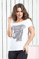 Футболка женская лето 007 Слон (42/46 универсал) (цвет белый) СП