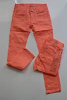 Котоновые брюки для девочек 6лет  цвет:оранжевый
