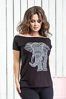 Футболка женская лето 007 Слон (42/46 универсал) (цвет черный) СП