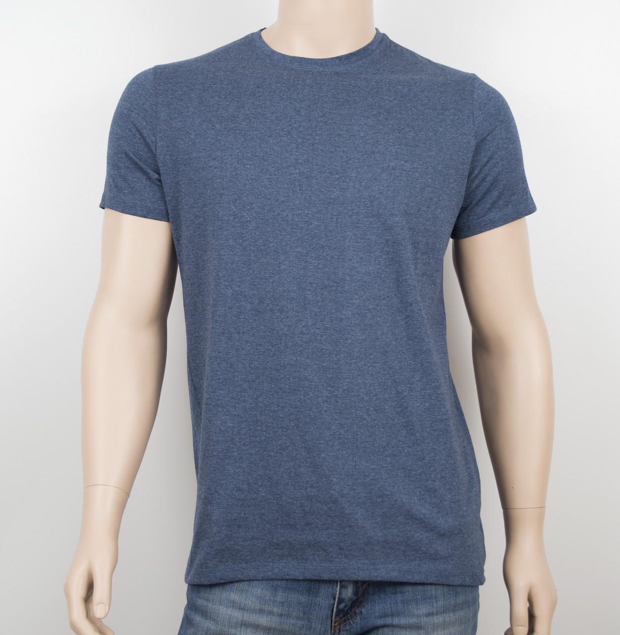 Мужская однотонная футболка 100% х/б 19002 джинс