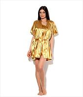 Комплект: ночная сорочка на бретелях и халатик - кимоно, цвет: золото. Размеры 44 - 52. Опт и розница