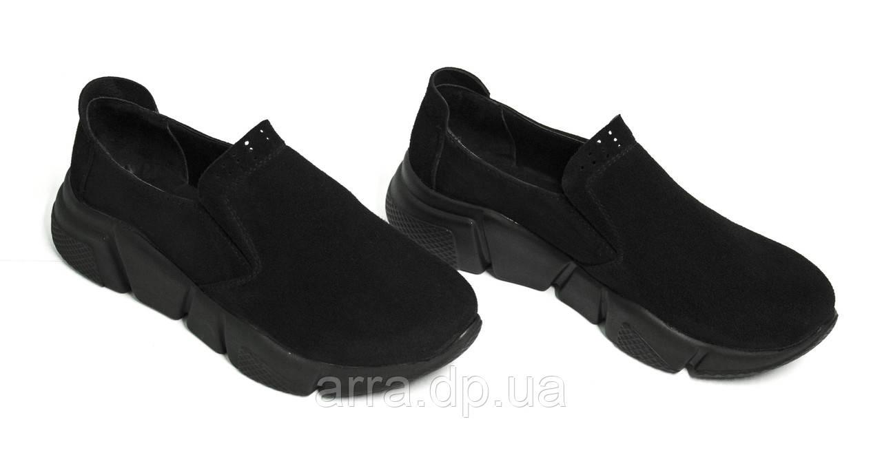 Женские туфли из натуральной кожи черного цвета, на утолщенной подошве, на резинке