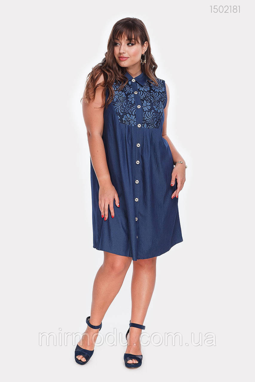 Платье Мармарис-1 (синий)(2 цвета) с  48 по 54 размер (рин)