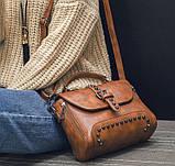 Сумка жіноча стильна з заклепками (бежева), фото 5
