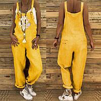 Модный свободный женский комбинезон, ромпер из льна с вышивкой. Яркие всевозможные любимые цвета., фото 1
