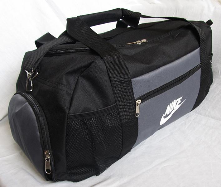 Сумка дорожная спортивная через плечо Найк  удобная практичная с отделом для обуви черная с серым 53см 38л