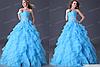 Женское голубое пышное платье. Любые размеры и цвета.