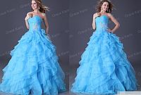 Женское голубое пышное платье. Любые размеры и цвета., фото 1