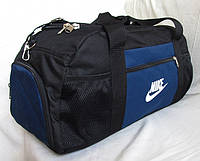 7a9b5c389b7f Дорожная сумка через плечо с отделом для обуви спортивная Найк черная с  синим 53см 38л