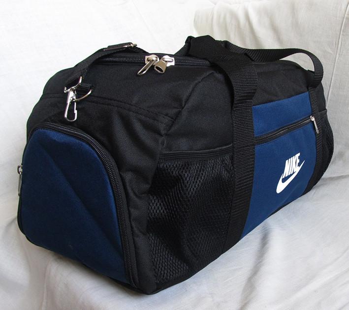 cb0aa0c7e006 ... Дорожная сумка через плечо с отделом для обуви спортивная Найк черная с  синим 53см 38л, ...
