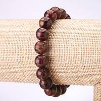 Браслет из бордового мозаичного камня (синт) гладкий шарик d-10мм на резинке обхват 18см