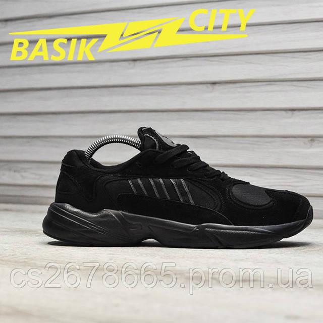 Мужские кроссовки Adidas Yung Triple Black New фото описания 1