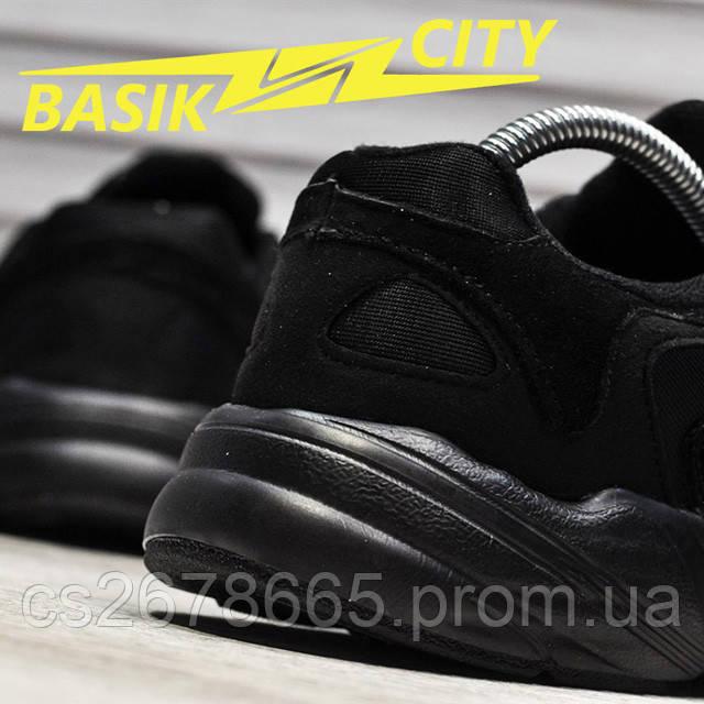Мужские кроссовки Adidas Yung Triple Black New фото описания 3