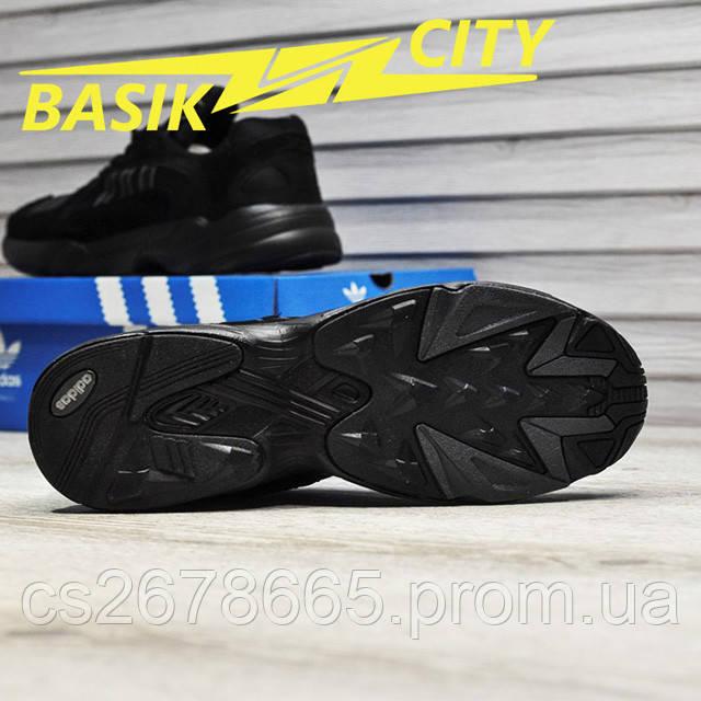 Мужские кроссовки Adidas Yung Triple Black New фото описания 7