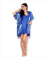 Пеньюар и халатик в комплекте, цвет насыщенный синий эллектрик. Комплект шелковый для прекрасных женщин.