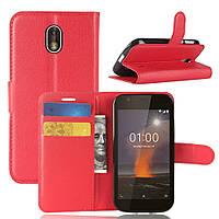 Чехол-книжка Litchie Wallet для Nokia 1 Красный