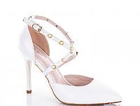 Белые туфли лодочки на шпильке с ремешком 37 38 39 40