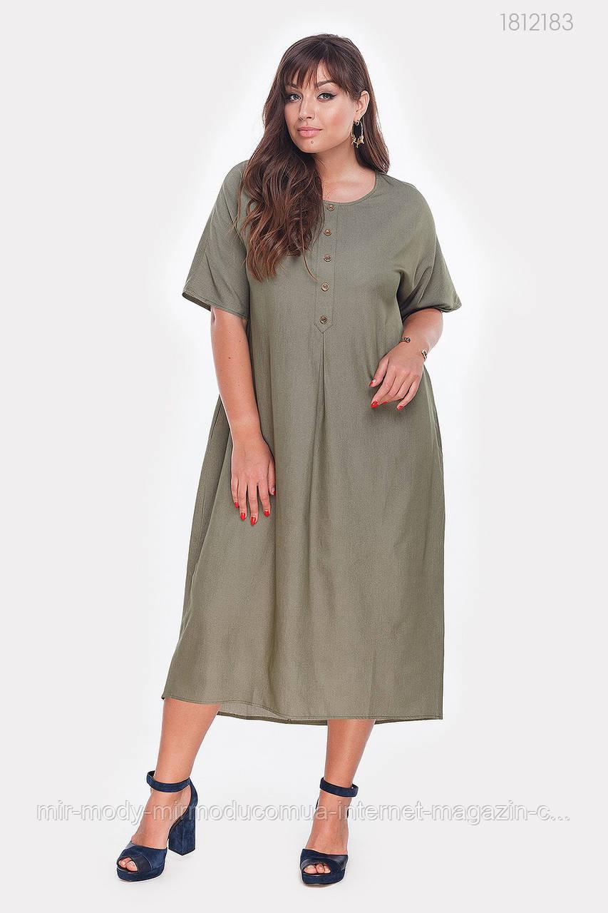 Платье  батальное джинсовое Альбукерке (хаки)(3 цвета) с 48 по 56  размер (пин)