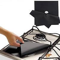 Защитные тефлоновые накладки для газовой плиты чёрные 275х275 мм, 4 шт/упак