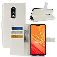 Чехол-книжка Litchie Wallet для OnePlus 6 Белый