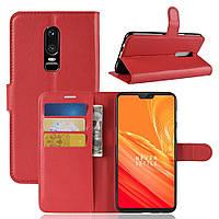 Чехол-книжка Litchie Wallet для OnePlus 6 Красный